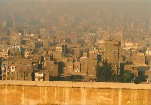 カイロ市の街の風景 黄土色