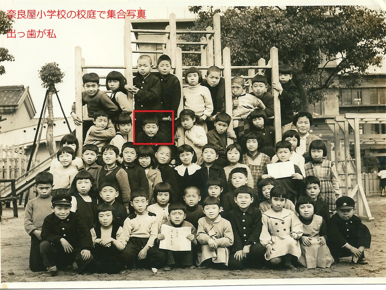 小学校の校庭で集合写真 出っ歯が私
