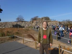 竹田城の天守閣跡 当日は朝の9時くらいまでは雲海がきれいだったそうだ。